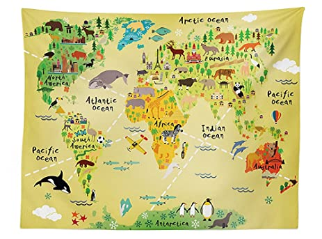 Amazon vipsung kids decor tablecloth educational world map vipsung kids decor tablecloth educational world map africa america penguins atlantic pacific ocean animals australia panda gumiabroncs Choice Image