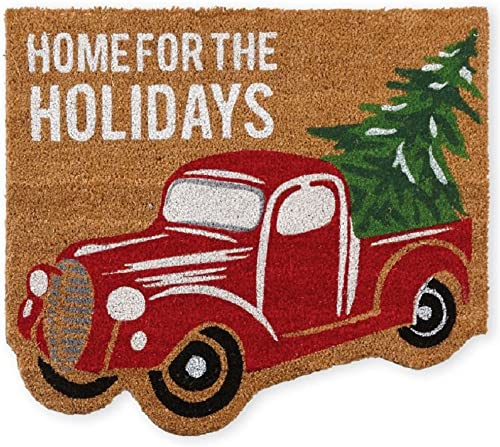 Mud Pie Christmas Truck Holiday Front Doormat, 27 x 24 , Brown Red Green