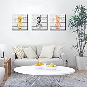 junshi11 Wall Art Canvas Painting Single Color Pineapple Fruit Contemporary Artwork for Bedroom Dining Room Living Room Decor Gift Orange
