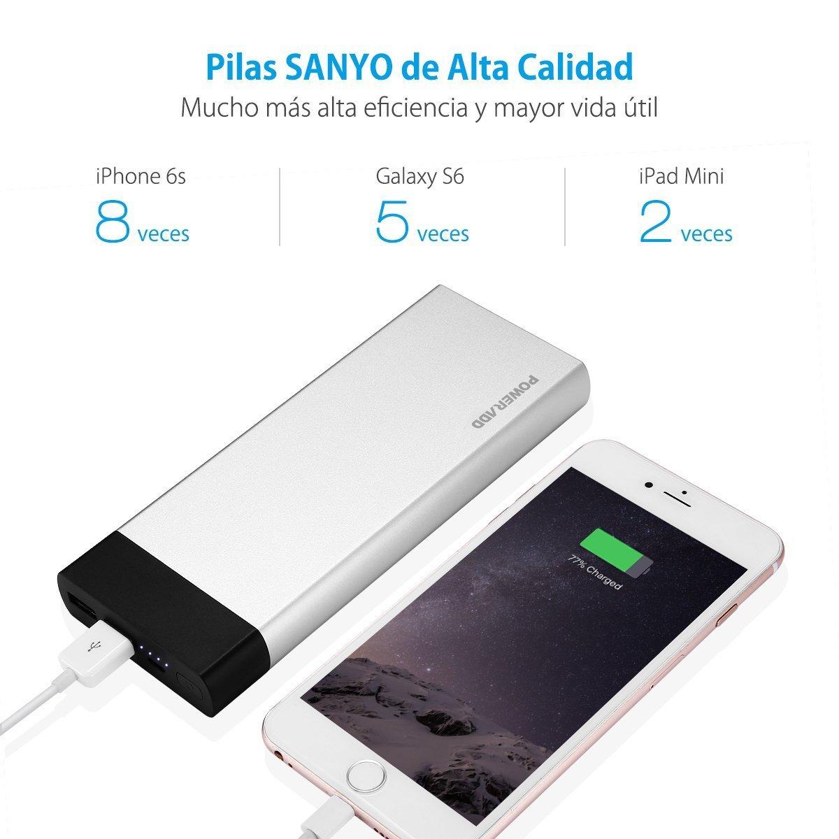 Poweradd Pilot 5GS 20000mAh Batería Externa Cargador Portátil para ipad, iPhone 6/6s/6 plus/6s plus, iPad, Dispositivos Android, Teléfonos Móviles, Tableta y Más Reciente iphone7/7 plus Color: Plateado
