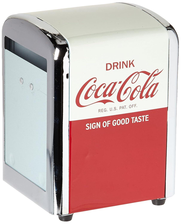 Tablecraft CC381 Coca-Cola Napkin Dispenser, Half, Red
