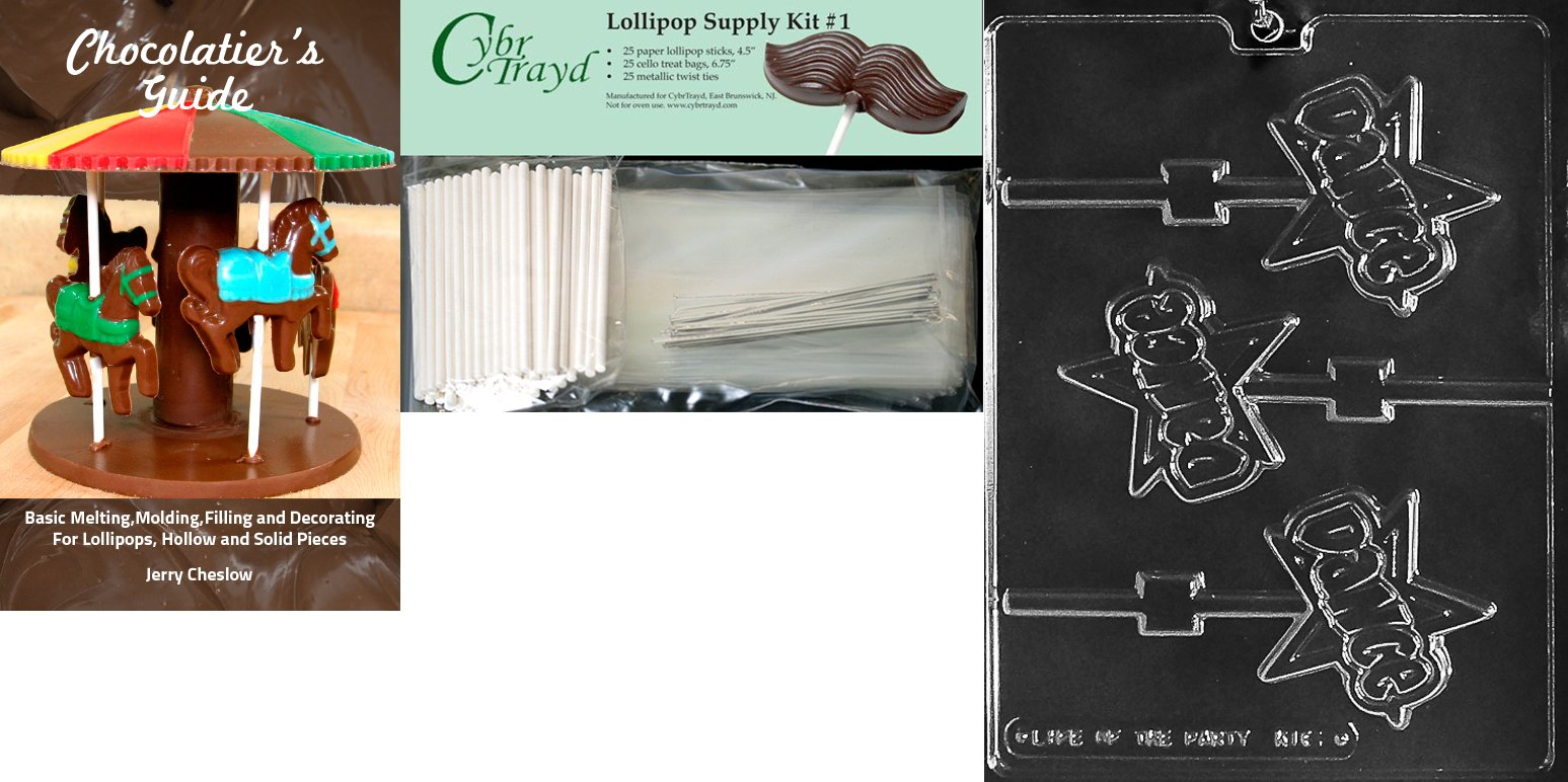 Cybrtrayd 'Dance Lolly Kids' Chocolate Candy Mold with Chocolatier's Bundle of 25 Lollipop Sticks, 25 Cello Bags, 25 Silver Twist Ties and Instructions