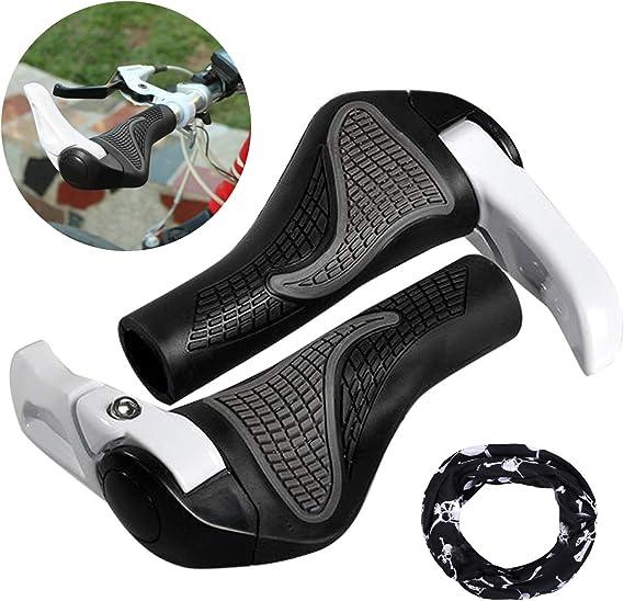 Puños Bicicleta Ergonomicos con Máscara, Wafly 2PCS Puños para Bicicleta de Montaña Con Cuernos Antideslizante Aluminio Caucho Bike Agarre para Bicicleta Moto Montaña MTB BMX Plegable Bicicleta (22mm): Amazon.es: Deportes y aire
