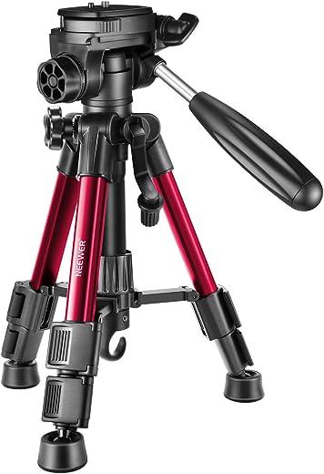 كاميرا نيوير الصغيرة المنضدة، حامل ثلاثي القوائم 24 بوصة/62 سم، ألومنيوم محمول برأس دوار ثلاثي الاتجاه لكاميرا دي اس ال ار، والهواتف الذكية، فيديو DV يصل إلى 2. 6 رطل/3 كجم (T210 أحمر)