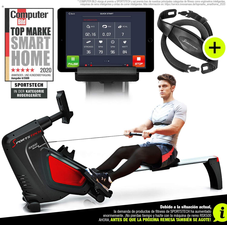 Sportstech RSX500 Máquina de Remo - Marca de Calidad Alemana - Modo de competición - Incl. pulsómetro (Valor: 39,90) 16 programas, Resistencia magnética, Soporte para Tablets, Plegable