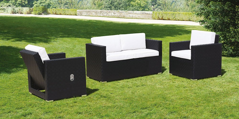 MY-Furniture CUBO Lounge Set in Schwarz und Elfenbein