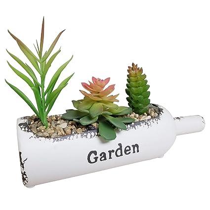 ikee diseño botella con forma de maceta de barro con sintética verde artificial plantas para decoración