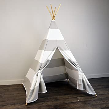 Amazon.com Zeldabelle Kids Teepee Tent in Stripe Includes Large Stripe Canvas Teepee and Wooden Poles Perfect Indoor Play House for Kids Grey/White ... : kids teepee tent - memphite.com