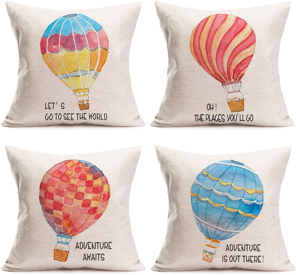 Amazon Com Easternproject Throw Pillow Covers Set Of 4 Colorful Hot Air Balloon Float With Inspirational Quotes Pillow Cases Cushion Cover Cotton Linen Home Travel Adventure Decorative Pillowcase 18x18 Inches Home Kitchen