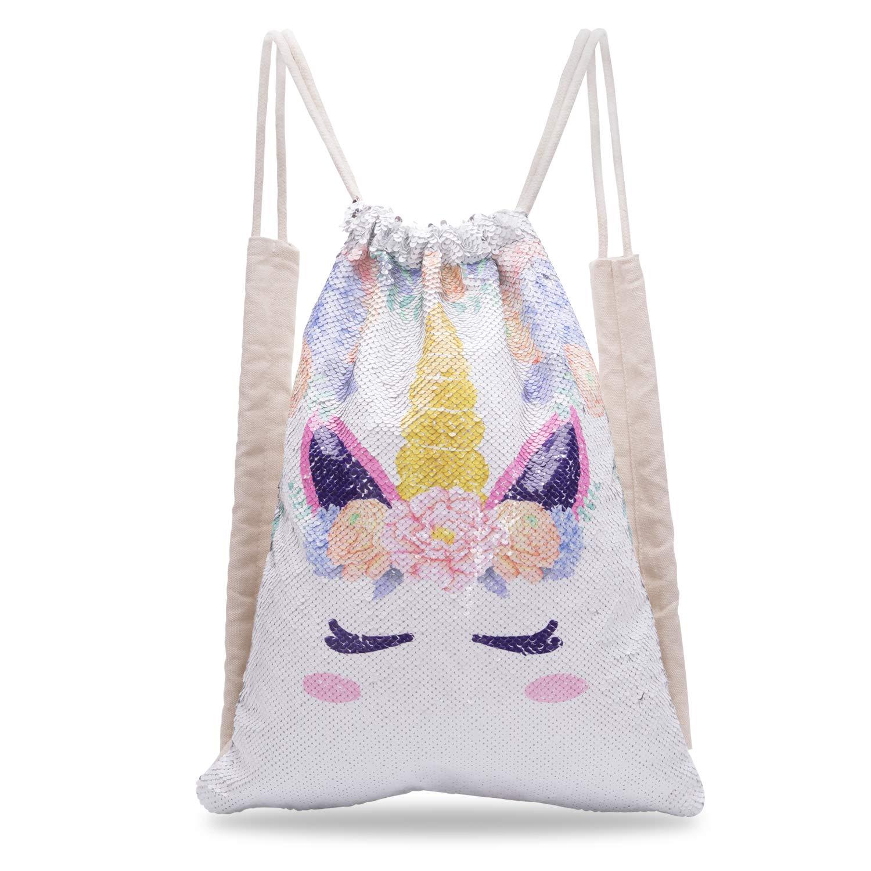 Xiaowli Unicorn Sequin Drawstring Backpack Mermaid Sequin Bag Magic Reversible Glittering Bag Unicorn Gift for Girls Boy