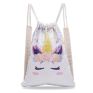 f3370b35b01f Xiaowli Unicorn Sequin Drawstring Backpack Mermaid Sequin Bag Magic  Reversible Glittering Bag Unicorn Gift for Girls Boy