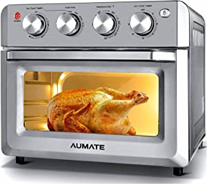 AUMATE Air Fryer Oven,Air Fryer Toaster Oven Combo,7-in-1 Large Convection Roaster Oven,Countertop Oven with Rotisserie & Dehydrator,1550W Oilless Knob Control Electric Oven,4 Accessories,19 QT,Silver
