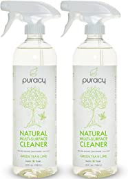 Puracy Natural All Purpose Cleaner, THE BEST Household Multi-Surface Spray, Streak Free on Glass and Stainless Steel, Child and Pet Safe, Green Tea and Lime, 25 Ounce Bottle, (Pack of 2)