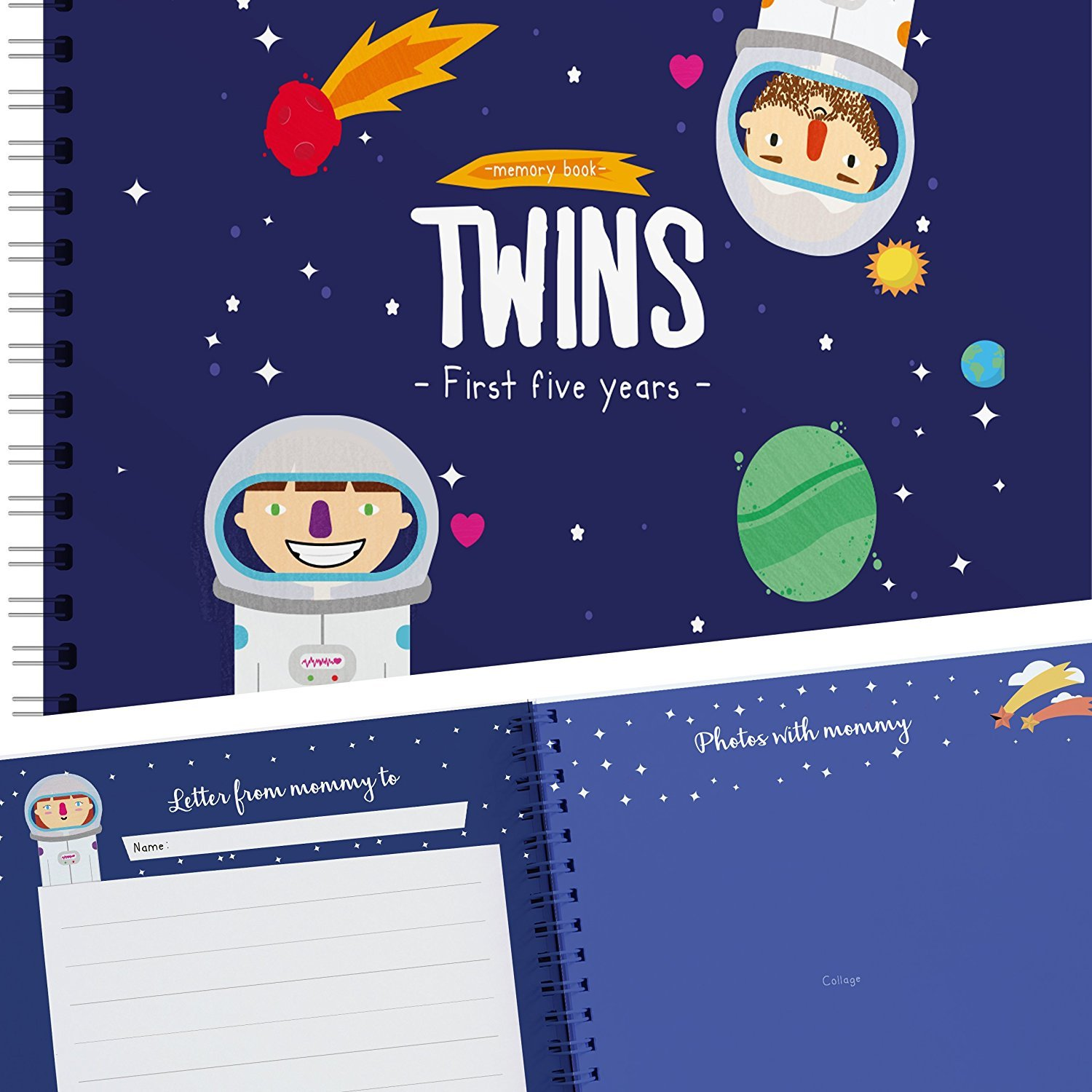 Astronaut Edition - Twins First Five Years Memory Book with Stickers - Baby Keepsake Journal to Cherish Your Twin's First Five Years - Includes Dental Records, First Day of School, and More Unconditional Rosie TWINSSPACEJUNTO