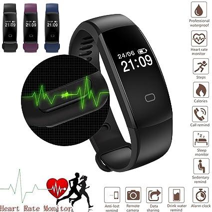 Fitness Tracker reloj, reloj inteligente con monitor de frecuencia cardiaca, IP67 impermeable pulsera inteligente paso rastreador Sleep Monitor ...