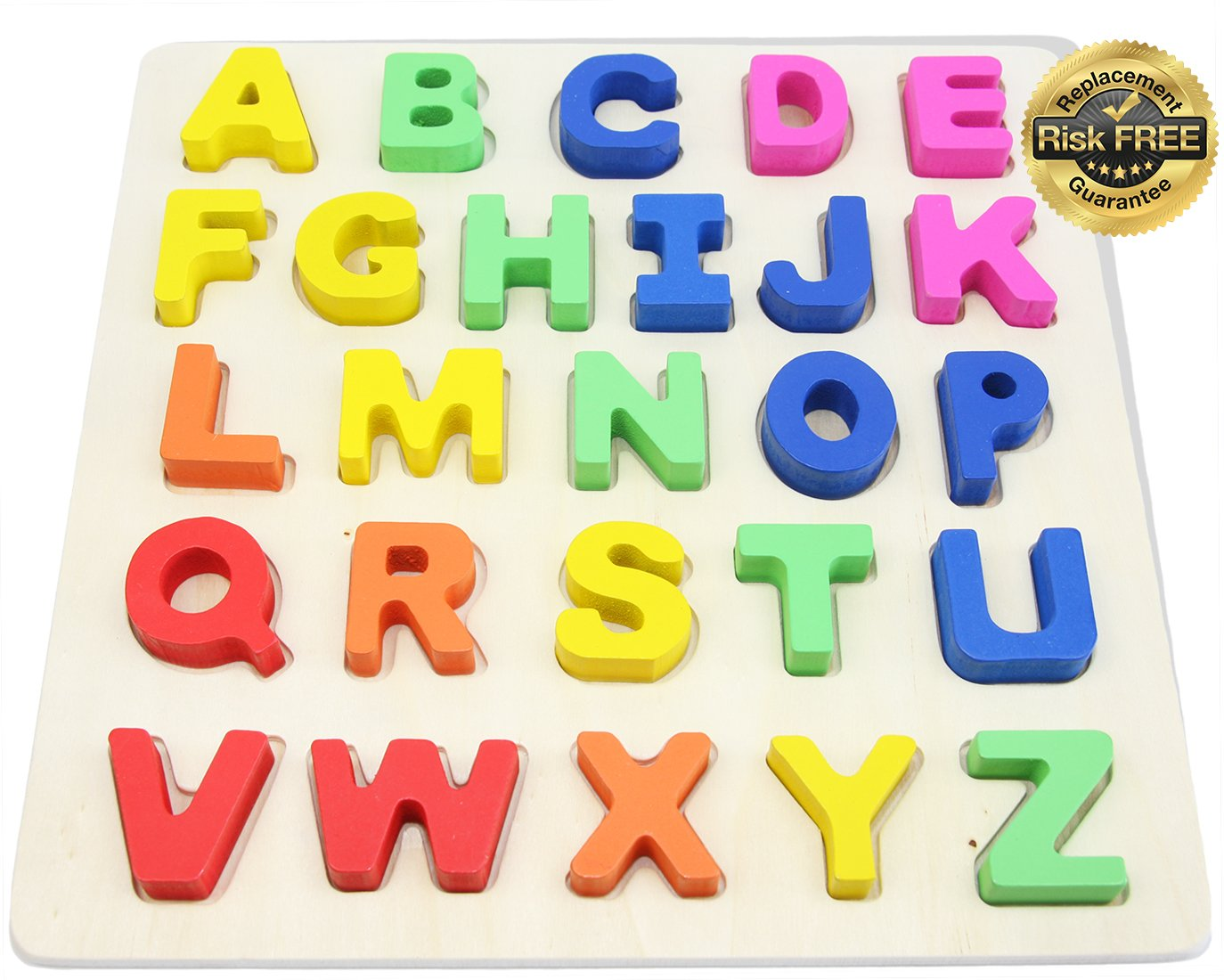 Wooden Alphabet Toddler Puzzles Toys For 2 To 3 Year Olds Kids With Big Bright Color Letters; ABC Girl, Boy Learning Resources; Educational Name, Shape Puzzle Preschool Learning Toys For Toddlers