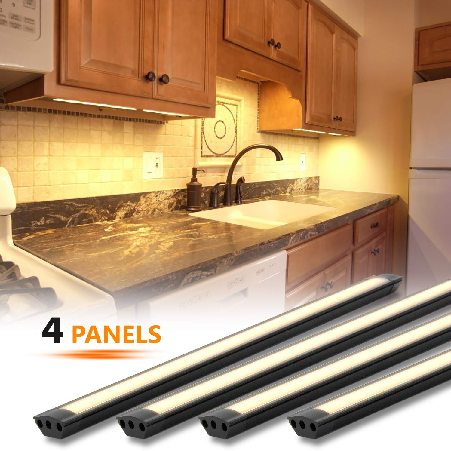 MYPLUS LED Under Cabinet Lighting, 4 pcs 12 inches Extremely Soft Kitchen Lights 12W, 840lm With 10 Levels Dimmable LED Under Counter Lights, for Kitchen Cabinet,Counter,Workbench etc - 3000K by MYPLUS (Image #1)