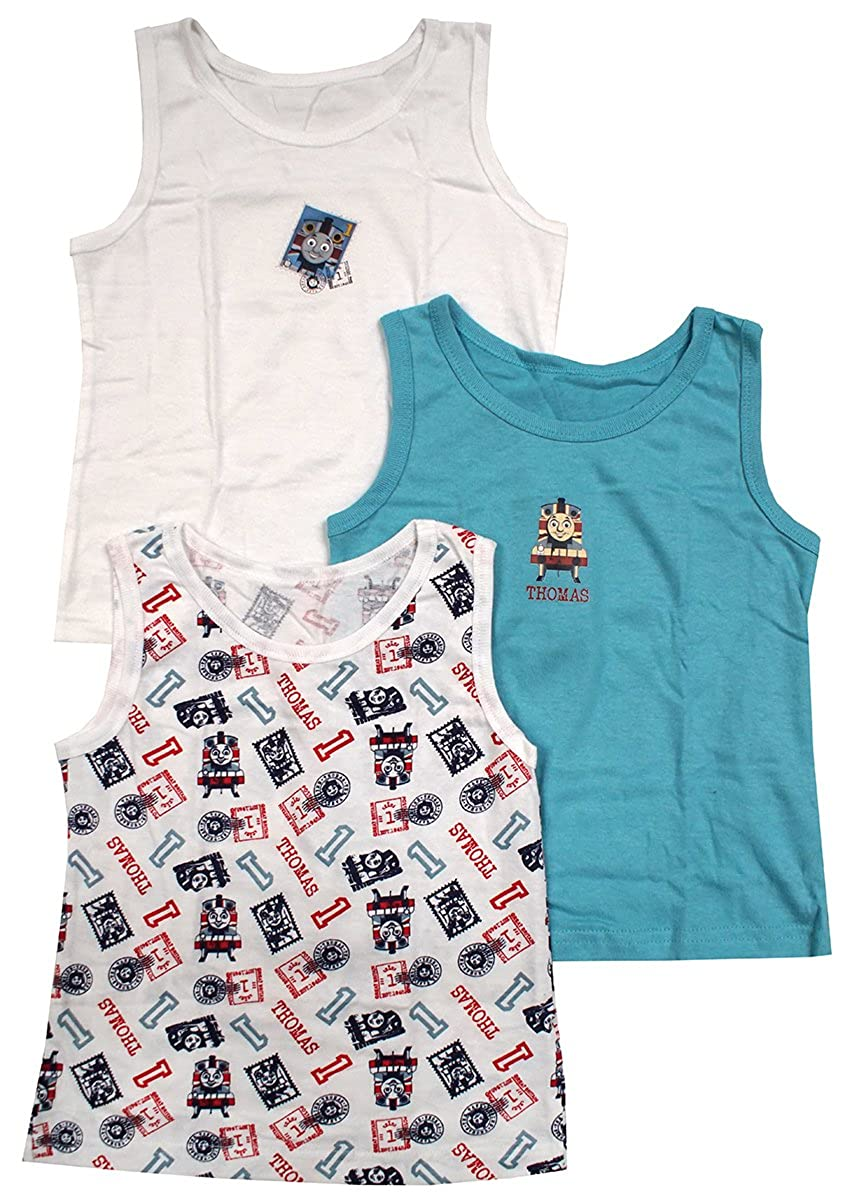 Get Wivvit Boys Pack of 3 Thomas The Tank Engine Train Cotton Vests Sizes from 1.5 to 6 Years