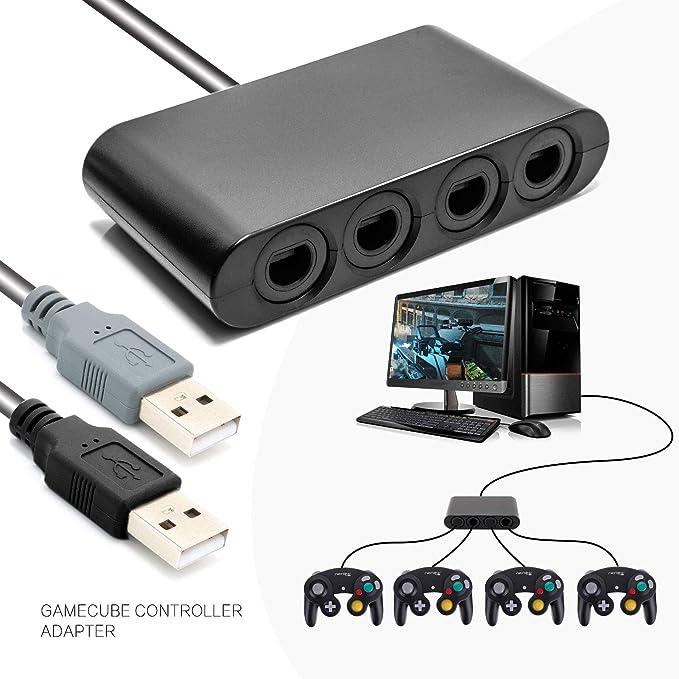 Switch Gamecube - Adaptador de Mando para Nintendo Switch, Wii U y PC, USB, sin Necesidad de Controladores, con 4 Ranuras y 2 Cables USB, 91 cm: Amazon.es: Electrónica