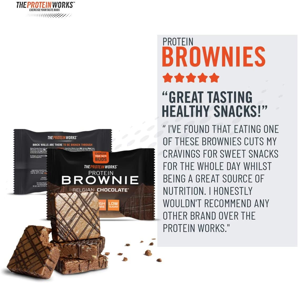 THE PROTEIN WORKS Brownies Proteicos   Alto En Proteínas, Snack Bajo En Azúcar   Alto En Figra      , Galleta MillionaireS - Chocolate Y Caramelo, 12 ...