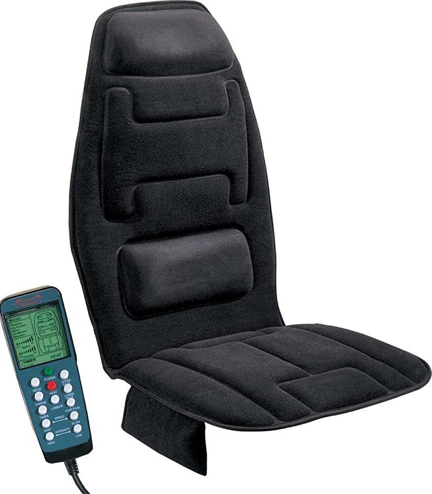Relaxzen 60-2910 10-Motor Massage Seat Cushion with Heat, Black