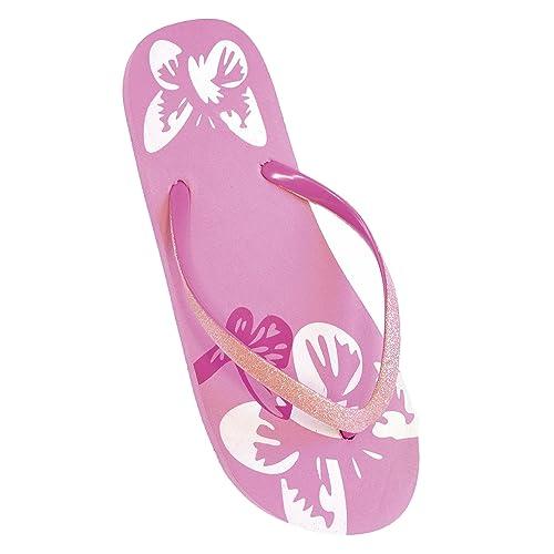 FLOSO® Damen Flip Flops mit Glitzerriemen und Schmetterling-Muster (EURO 36/37) (Rosa) M9c49Oosk