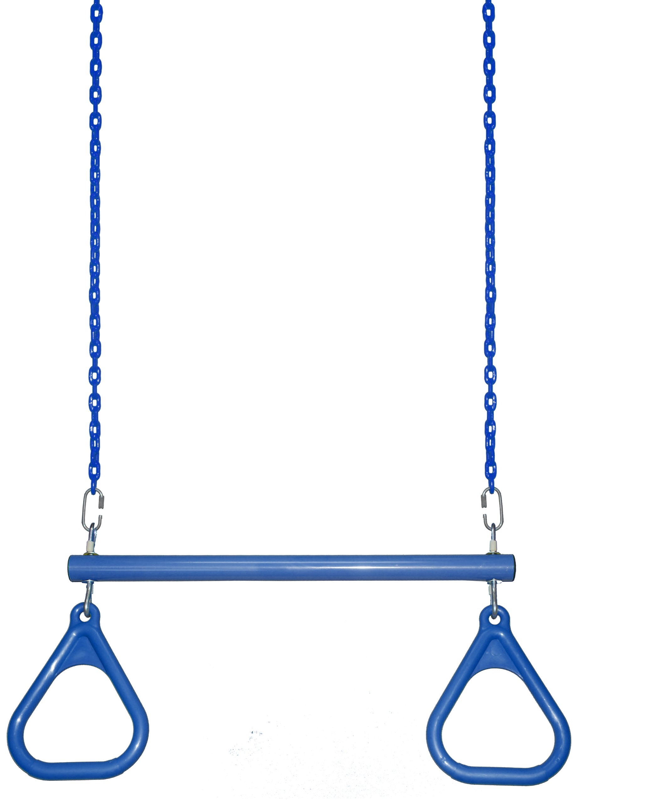 Trapeze Bar with 40'' Fully Coated Chain Swing Set Trapeze Ring Play Set Horizontal Bar Jungle Gym (Blue) by Playkids