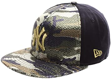 85a7ab3c3f0 New Era Sequin Hide NY Yankees Snapback Cap - Woodland Camo Gold ...