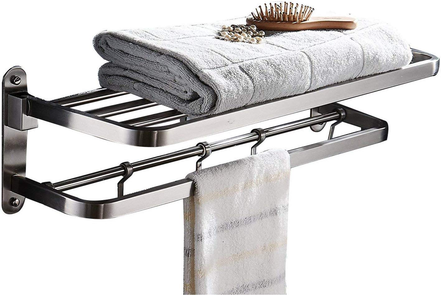 Ello&Allo Stainless Steel Towel Racks for Bathroom Shelf Double Towel Bar Holder with Hooks Wall Mounted Multifunctional Foldable Brushed Nickel ssrack-1