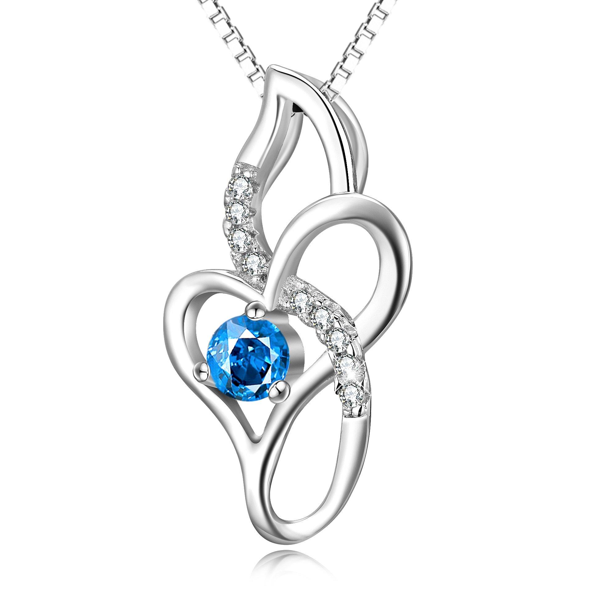 Infinity Love Heart Necklace Sterling Silver Cubic Zircon Jewelry for Women Girls