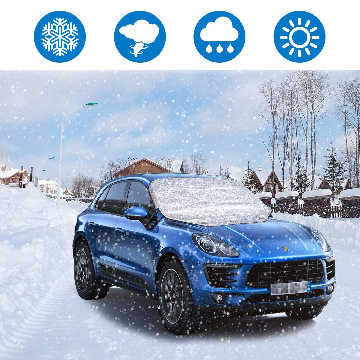 Autosonnenschutz UV-Schutz ieGeek Car Windschutzscheibe Abdeckung Winddicht mit 3 Versteckten Magneten SUV Automotive Ice Windshield Winter Cover.