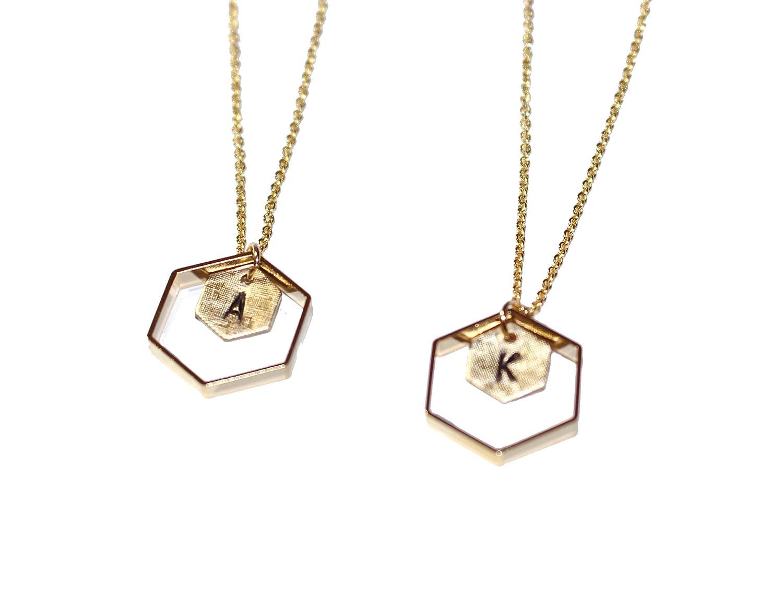 076f88082abe0 Amazon.com: Freena Design Honeycomb Initial Necklace Engraved Golden ...