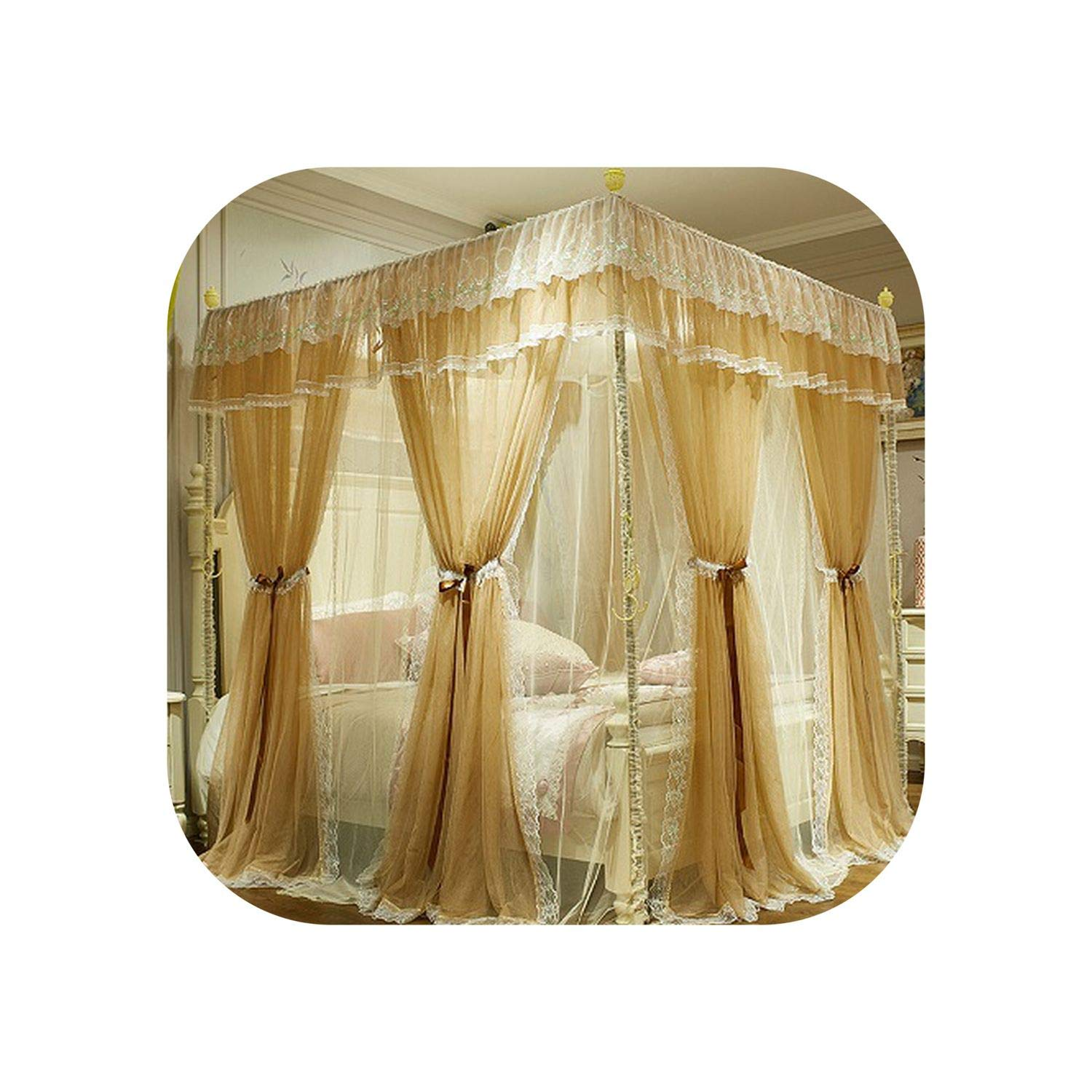 Green Pink Gray Red Double-Deck Romantic White Lace Luxury Court Style Three-Door Square Floor-Standing Mosquito Net Bedding Set,3,B 200X220Cm