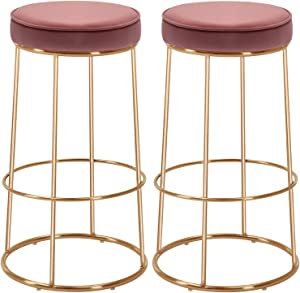 Duhome Velvet Bar Stools Set of 2, Gold Bar Stool Kitchen Stool, Modern Counter Height Bar Stools Breakfast Dining Chairs Counter Stool 28 Inches Pink