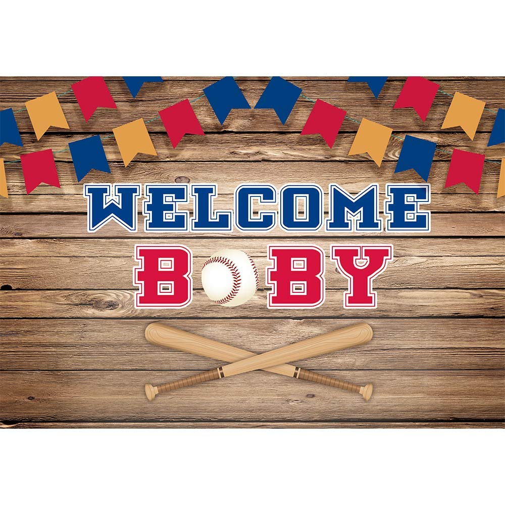 Allenjoy 7x5ft Baseball Baby Shower Backdrop Happiness Batter Up Welcome Baby Boy Birthday Sports Party Decorations Newborn All Star Bunting Banner Photography Backgrounds