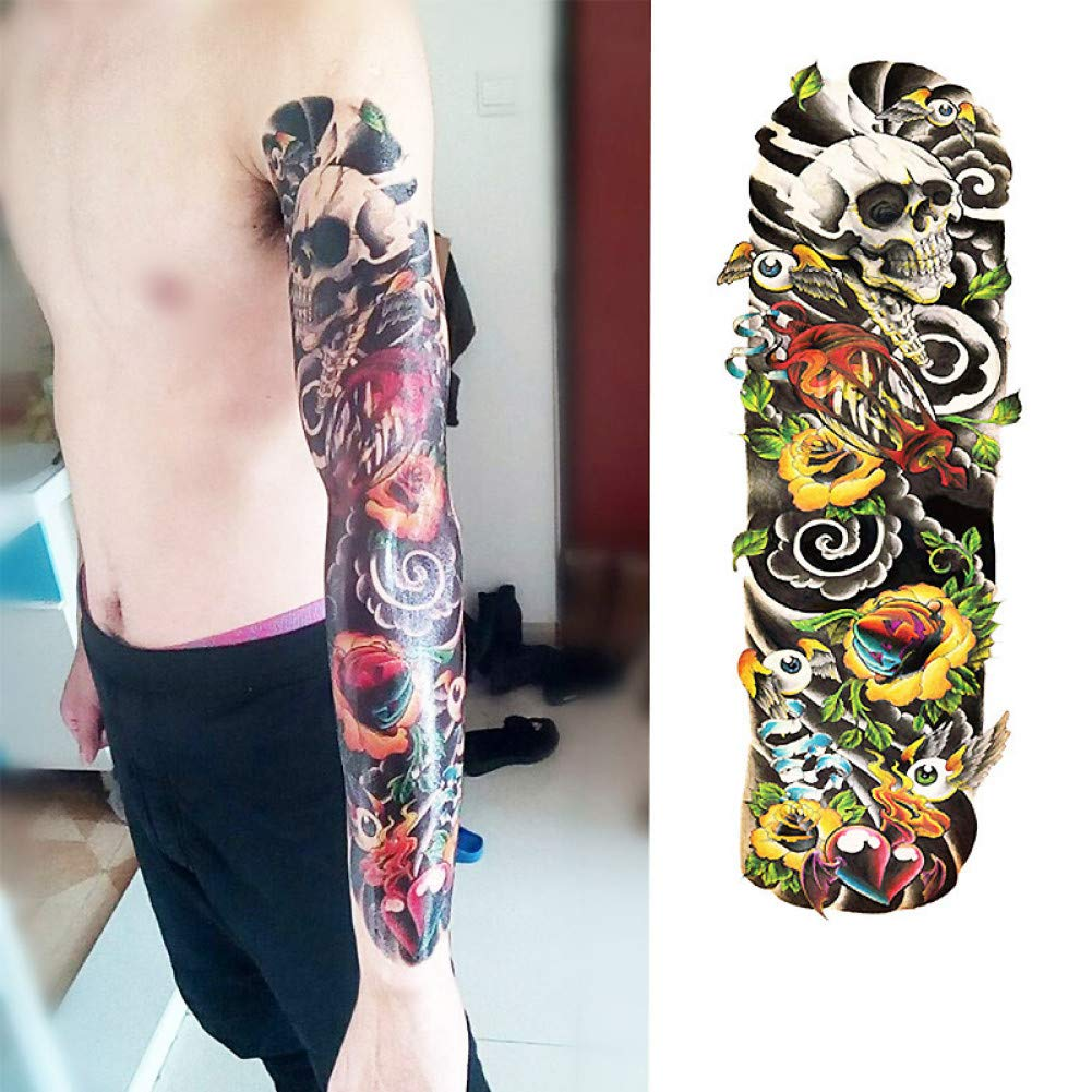GHHCG 1 Unids Fox Y Conejo Brazo de Flor Completa Tatuaje Temporal ...