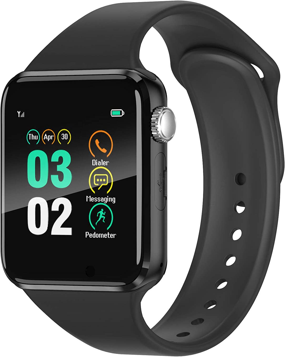WJPILIS Smart Watch Touchscreen Bluetooth Smartwatch Wrist Watch Sports Fitness Tracker with SIM SD Card Slot Camera Pedometer Compatible iPhone iOS Samsung Android for Men Women (Black1)