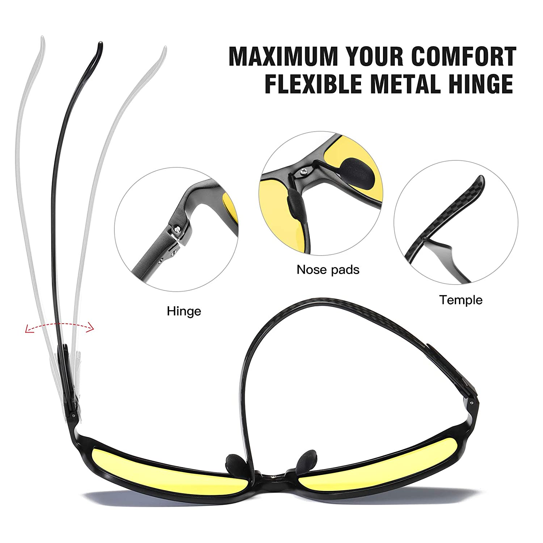 Duco Gafas de conducción nocturna para hombres y mujeres con marco de fibra de carbono Visión nocturna Gafas que conducen antirreflejos gafas de ...