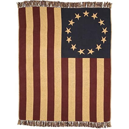 afcf68acf3d0 Amazon.com  VHC Brands Seasonal Americana Pillows   Throws - Old Glory Red  Woven Throw 50