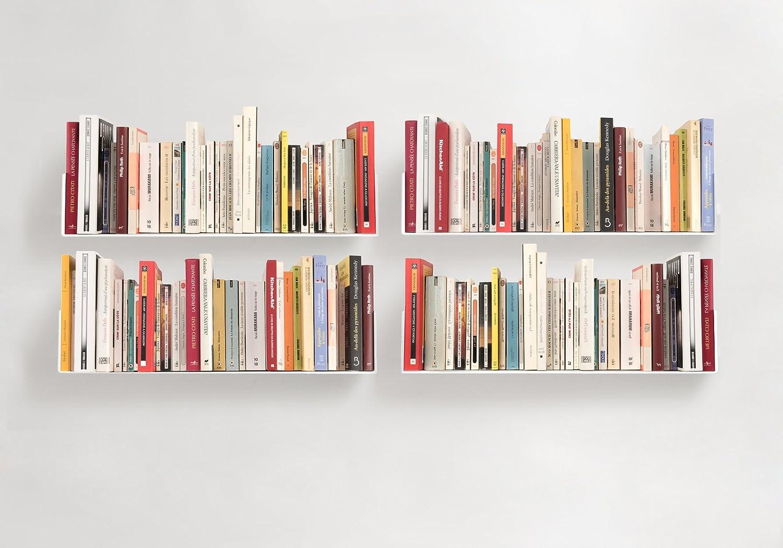 TEEbooks – BOOKSHELVES – Set of 4 – STEEL – WHITE – 23,6 x5,9 x5,9