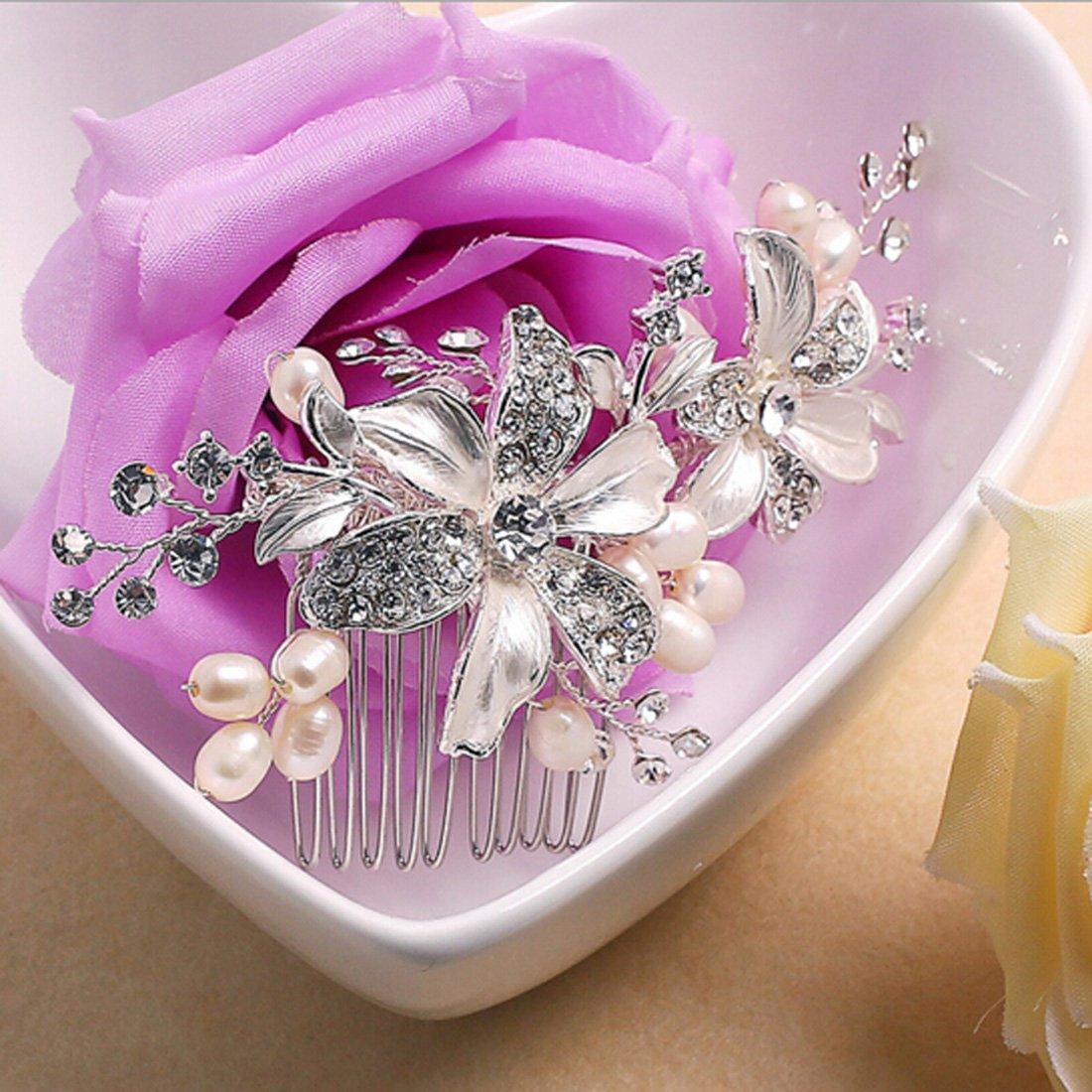 La main Argent Cheveux Peigne Fleur Mariage Perle Cr/ème Qccessoires