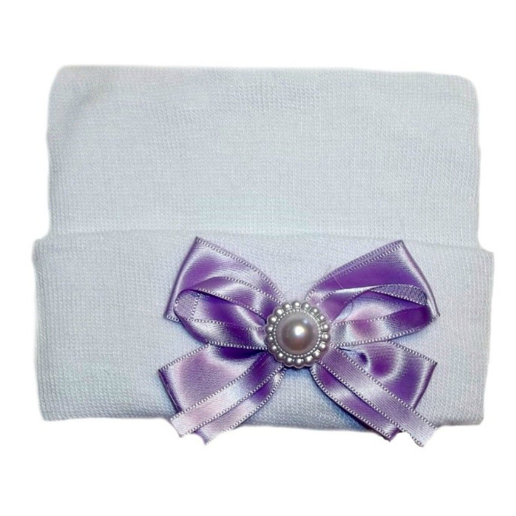 Jacquis Baby Girls White Hospital Hat with Lavender Pearl Bow
