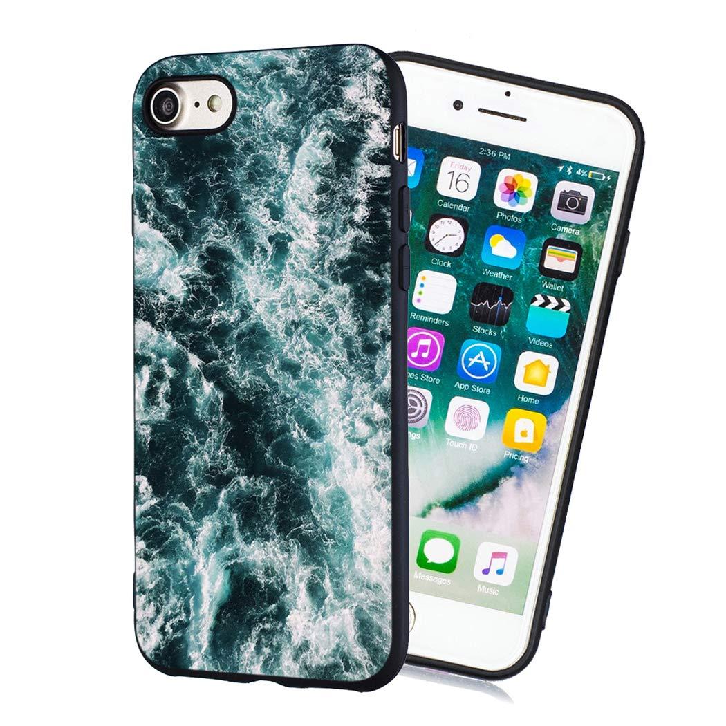 EUCase Funda para iPhone 8 Silicona Antigolpes Dibujos Carcasa iPhone 7 Suave TPU Flexible Goma Mate Ultra Delgada Cubierta Protector Bumper Case Caja Tapa Carcasa La Salida del Sol