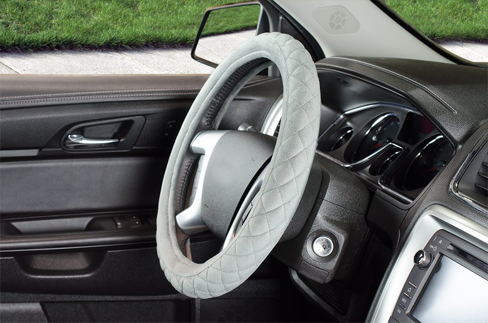 Custom Accessories 33119P Grey 3 Piece Custom Grip Super Soft Diamond Stitch TPE Core Steering Wheel Cover Set