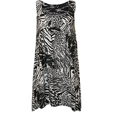 44cd3496fb94 New Womens Sleeveless Floral Sequin Print Ladies Long Swing Vest Top Plus  Size: Amazon.co.uk: Clothing