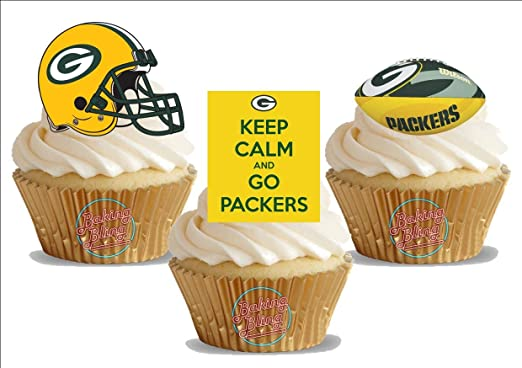 12 X American Football Green Bay Packers Trio Mix Fun Novelty Birthday Premium Stand Up Edible Wafer Card Cake Toppers Decorations Amazon Co Uk Grocery