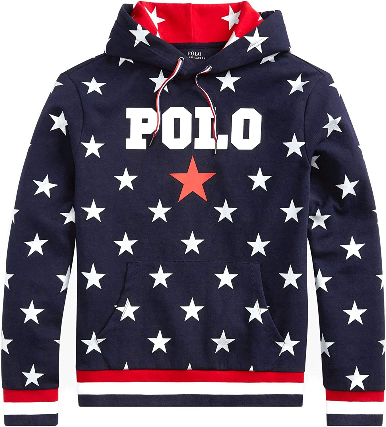Polo Ralph Lauren Mens Graphic Fleece Pullover Graphic Football Navy Blue Hoodie