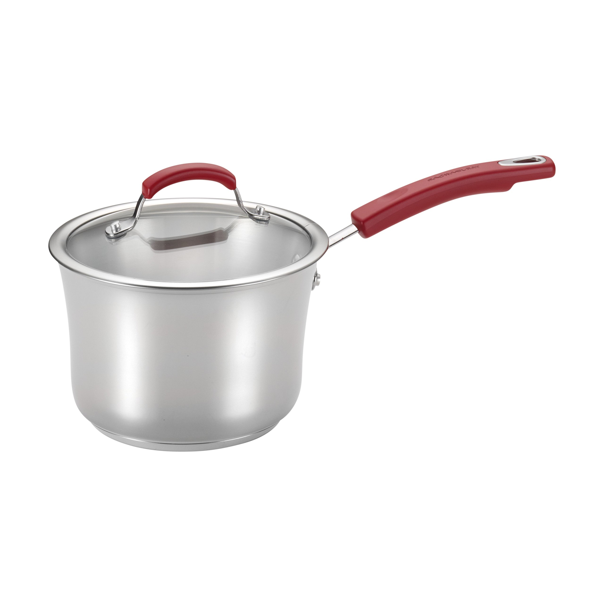 Rachael Ray Classic Brights Stainless Steel 3.5-Quart Covered Saucepan, Red Handles
