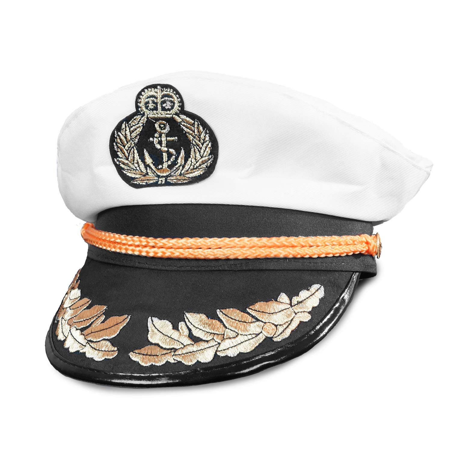 4341f4fa774c5 Amazon.com  White Yacht Captain Hat - One Size with Adjustable Baseball Hat  Snap Back - Costume Accessory - Fits Most  Clothing