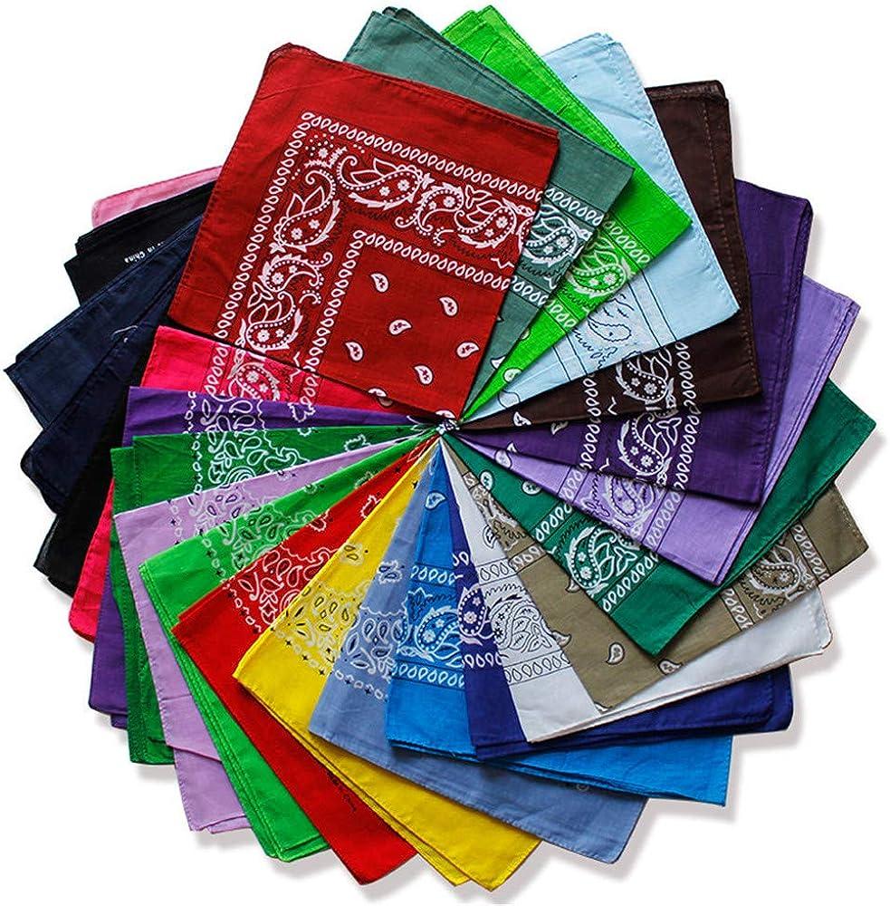 FRAUIT Bandana Unisex Bindetuch Hippie 100/% Baumwolle Druck Biker Halstuch Tuch Schal Paisley Muster Kopftuch 55cmx 55 cm 25 Farben